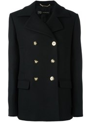 Versace Double Breasted Peacoat Black