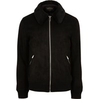 River Island Mens Black Faux Suede Fur Collar Jacket