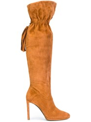 Roberto Cavalli Tasselled Knee High Boots Nude And Neutrals