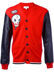 Coach Skull Print Cardigan Red