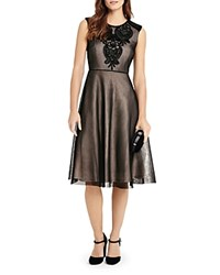 Phase Eight Annie Embroidered Mesh Midi Dress Black Nude