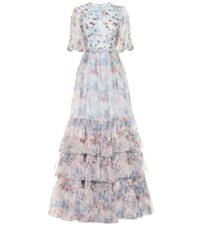 Costarellos Embellished Floral Organza Gown Multicoloured