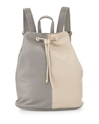 Neiman Marcus Faux Leather Colorblock Drawstring Backpack Gray Ecru