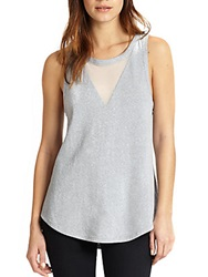 Autograph Addison Sheer Chiffon Paneled Racerback Tank Grey White