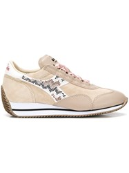 Diadora Ribbon Lace Up Sneakers Nude And Neutrals