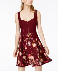 Trixxi Juniors' Sweetheart Floral Print Dress Dark Red