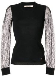 Roberto Cavalli Sheer Lace Sleeves Knitted Top 60