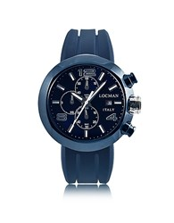 Locman Tondo Blue Pvd Stainless Steel Chronograph Men's Watch W Leather And Silicone Band Set
