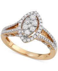 Macy's Diamond Marquise Cluster Ring 3 4 Ct. T.W. In 14K Gold Yellow Gold