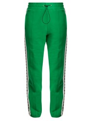 Msgm Logo Print Cotton Track Pants Green
