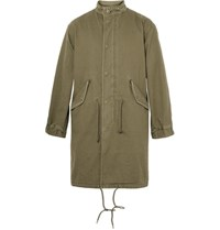 Saint Laurent Embellished Cotton And Ramie Blend Twill Parka Army Green