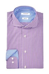 Isaac Mizrahi Grape Check Spread Collar Long Sleeve Modern Fit Dress Shirt Purple