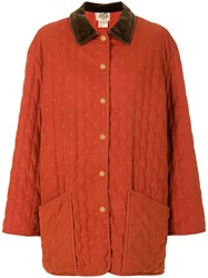 Hermes Vintage Embroidered Boxy Coat Yellow And Orange