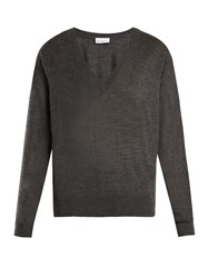Raey V Neck Fine Knit Cashmere Sweater Charcoal