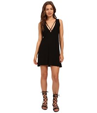Culture Phit Palma V Neck Cross Strap Tank Dress Black Women's Dress