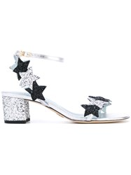 Chiara Ferragni Star Glitter Sandals Women Goat Skin Leather Pvc 39 Black