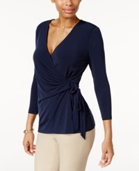 Charter Club Faux Wrap Top Only At Macy's Intrepid Blue