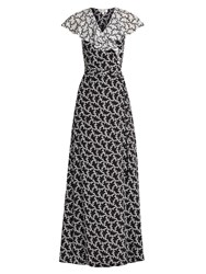Diane Von Furstenberg Ruffle Trimmed Silk Wrap Dress Black White
