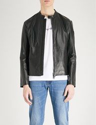 Emporio Armani Stand Collar Leather Jacket Black