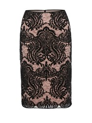 Gina Bacconi Baroque Sequin Mesh Lined Skirt Black