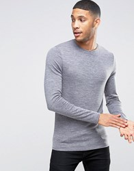 Asos Knitted Jersey Muscle Long Sleeve T Shirt Smoked Pearl Grey