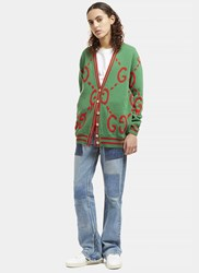 Gucci Reversible Embroidered Botanic Knit Cardigan Green