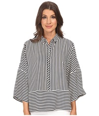 Adrianna Papell Oversized Drop Shoulder Blouse Navy Ivory Women's Blouse Blue