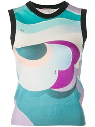 Emilio Pucci Sleeveless Round Neck Knit Top Green
