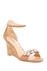 Badgley Mischka Clear Crystal Embellished Wedge Sandal Brown