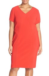 Plus Size Women's Sejour Short Sleeve Ottoman Rib Sheath Dress Red Aurora