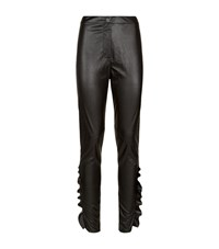 Pinko Ankle Ruffle Leather Leggings Female Black