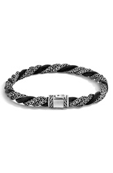 John Hardy 'Classic Chain' Twisted Cord Bracelet Silver Black Leather