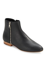 Loeffler Randall Leather Zipped Ankle Boots Black
