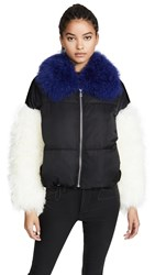 Adrienne Landau Multi Fur Jacket Black Blue