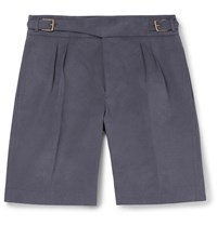 Anderson And Sheppard Brushed Cotton Twill Shorts Blue