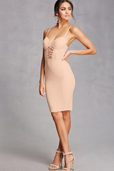 Forever 21 Lace Up Bustier Bodycon Dress Nude