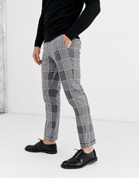 Jack And Jones Premium Slim Fit Cropped Large Check Smart Trousers In Grey