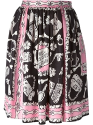 Moschino Cheap And Chic Bone Print Skirt Pink And Purple