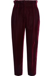 Philosophy Di Lorenzo Serafini Bow Embellished Velvet Tapered Pants Merlot