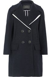 Cedric Charlier Double Breasted Wool Blend Coat Navy