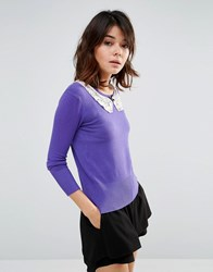 Trollied Dolly Jumper With Crochet Collar Purple