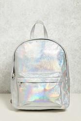 Forever 21 Iridescent Structured Backpack Silver Multi