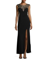 Betsy And Adam Cap Sleeve Embellished Column Gown Black Citrus