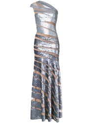Jean Fares Couture One Shoulder Gown Metallic
