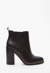 Forever 21 Genuine Leather Chelsea Boots Black