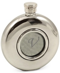 Bey Berk Monogramed 5 Oz. Stainless Steel Mirror Finish Flask With Glass Center V