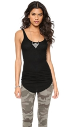 Enza Costa Silk Rib Baseball Tank Black