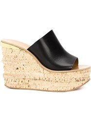 Chloa 'Camille' Wedge Mules Black