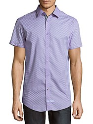 English Laundry Geometric Cotton Button Down Shirt Purple