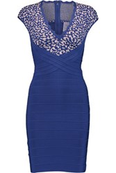 Herve Leger Paneled Bandage Mini Dress Royal Blue